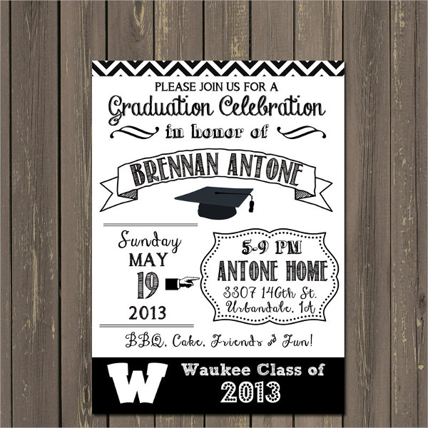 black and white graduation party invitation1