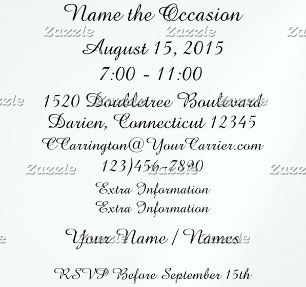 black tie wedding event invitation