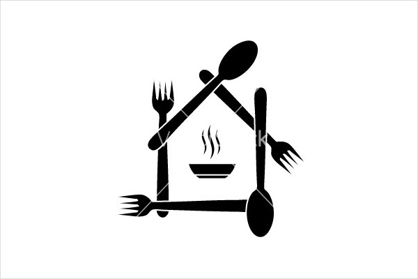 black and white restaurant vector logo