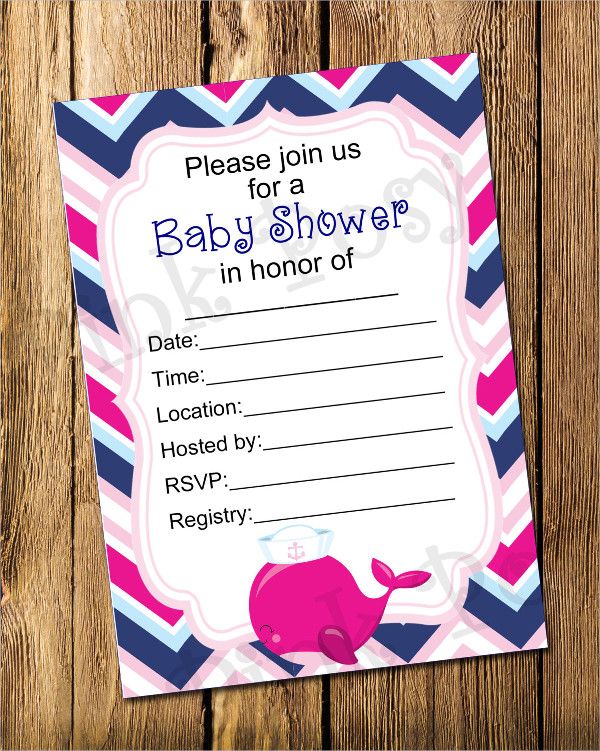 Blank Baby Shower Invitation Sample