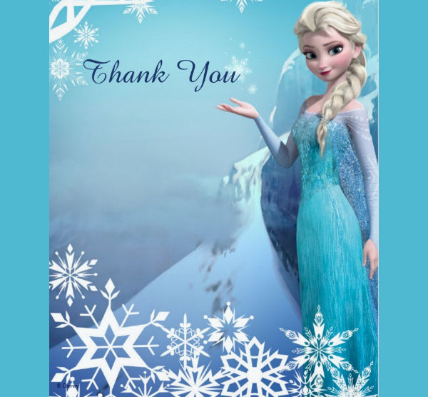 blank frozen birthday thank you card