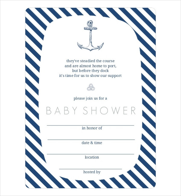 Blank Nautical Baby Shower Invitation