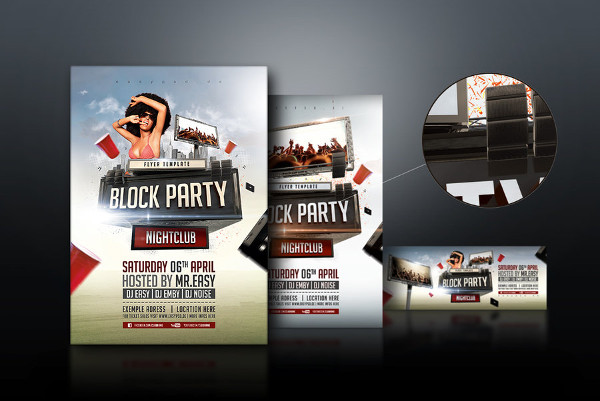 76 party flyer examples psd ai eps vector for Block party template flyers free