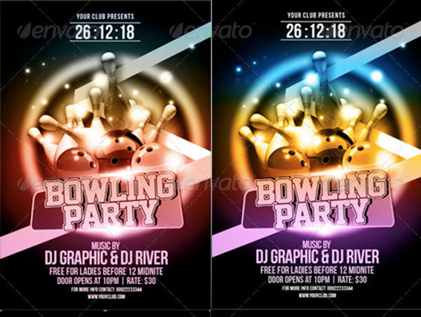 bowling event party flyer1