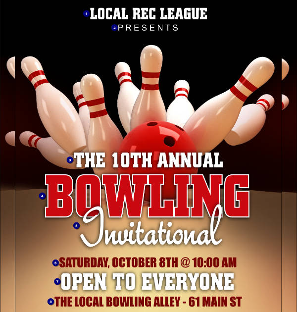 -Bowling League Event Poster