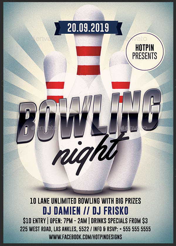 bowling nights party flyer