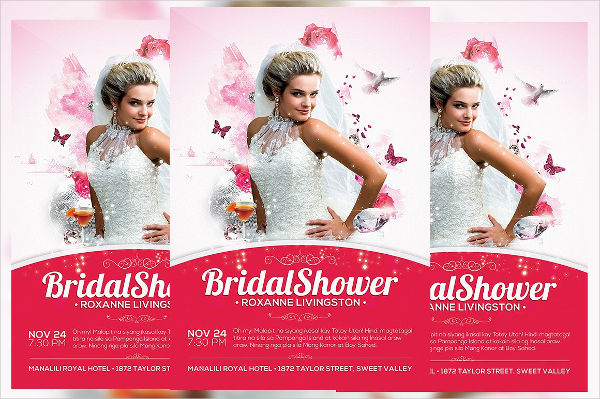 bridal shower invitation psd flyer