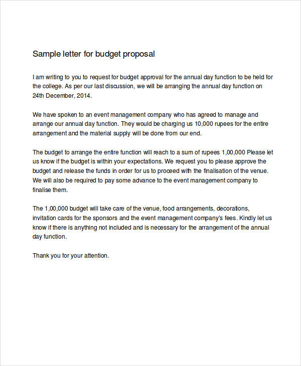 48 formal letter examples and samples pdf doc budget proposal example spiritdancerdesigns Image collections