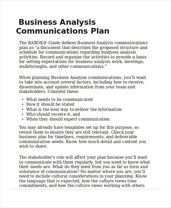 40 communication plan examples samples business analysis communication plan accmission