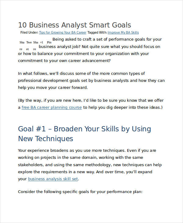 business analyst smart goals