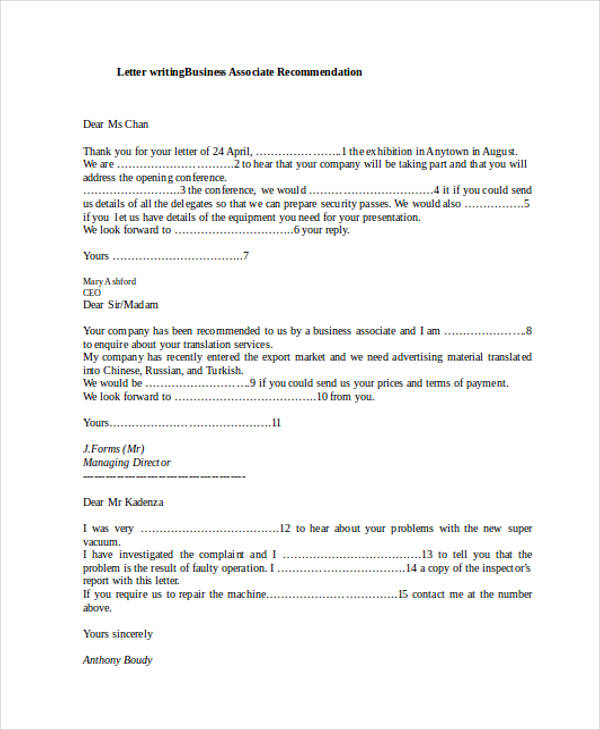 business associate recommendation letter