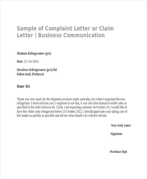 business communication complaint letter
