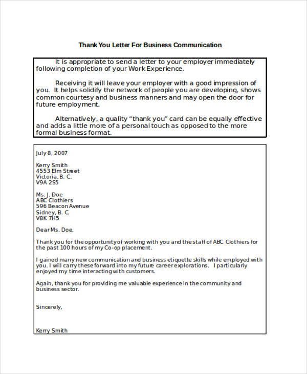 business communication thank you letter