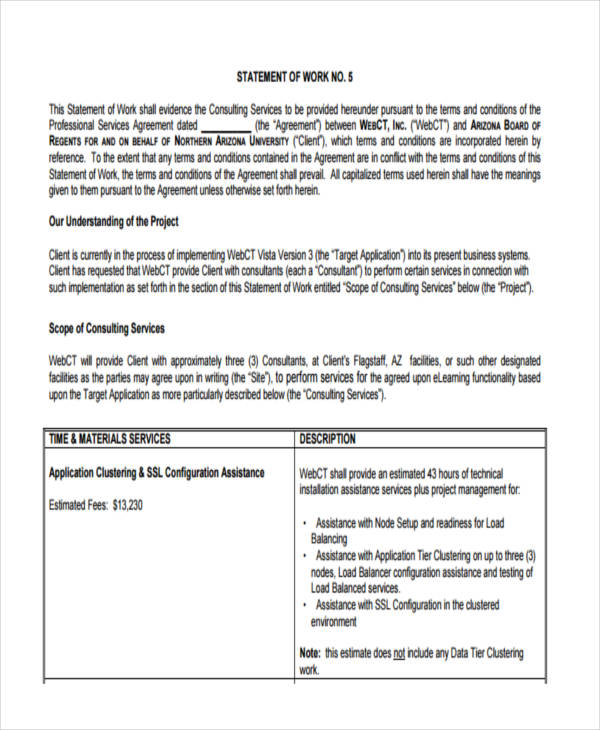 Sow Template Doc Free Statement Of Work Templates Smartsheet
