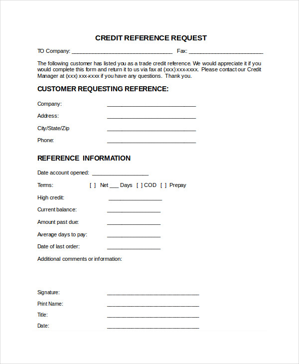 business credit reference check letter