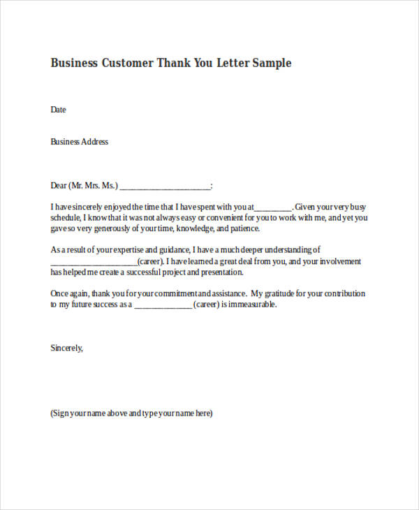 business customer thank you letter sample