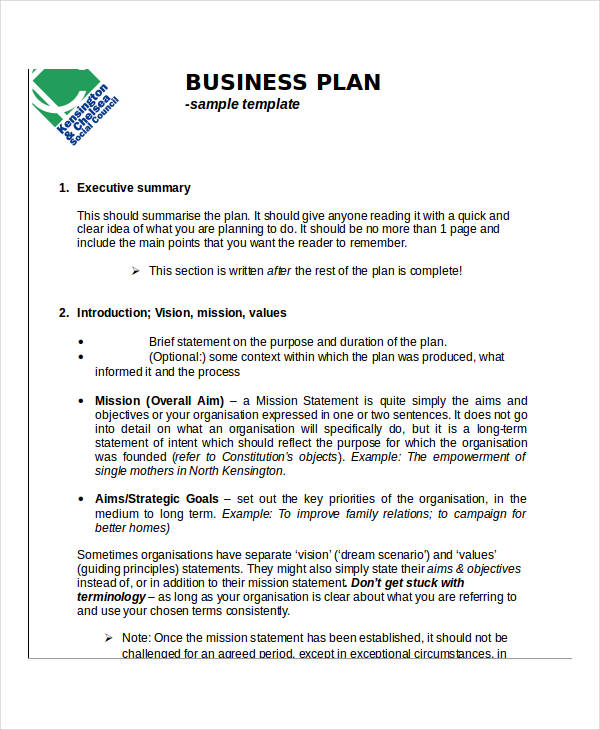 Examples Of Action Plans - Example business plan template