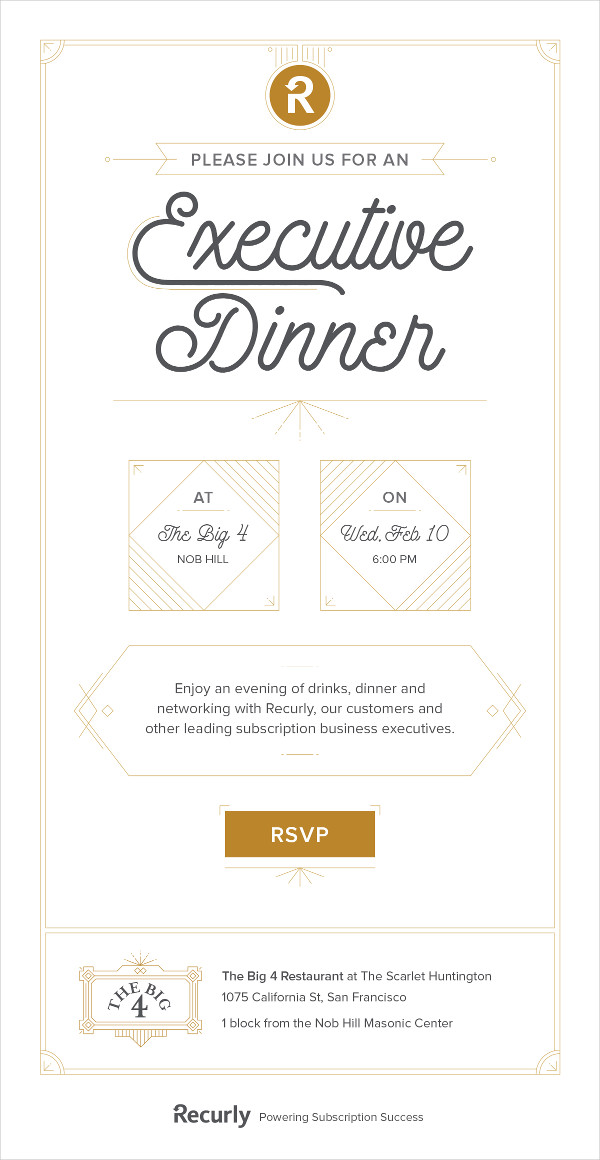 Business Dinner Email Invitation