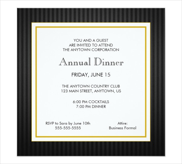 business dinner party invitation