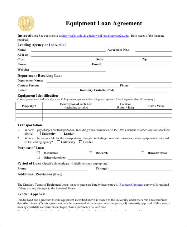 business equipment loan agreement