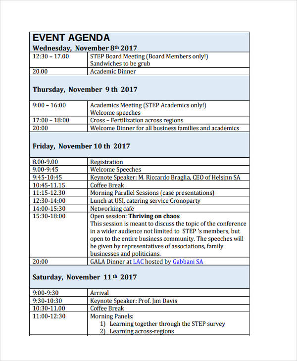 business event agenda in pdf