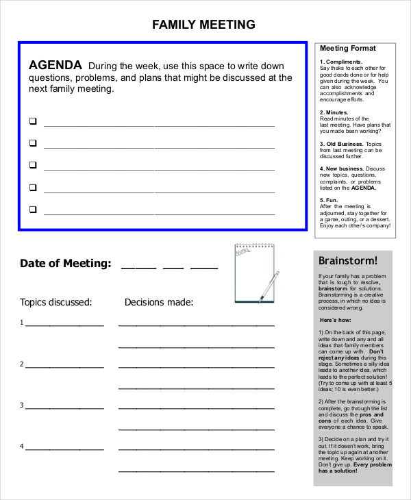 business family meeting agenda