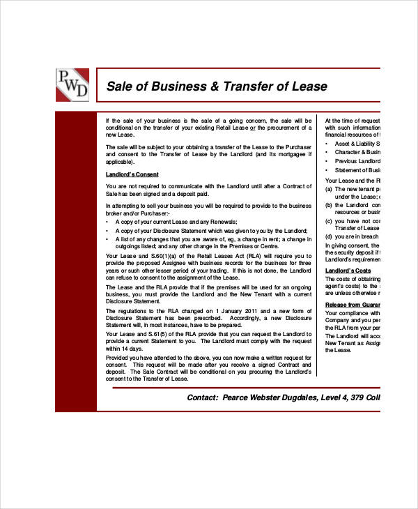 business lease transfer agreement