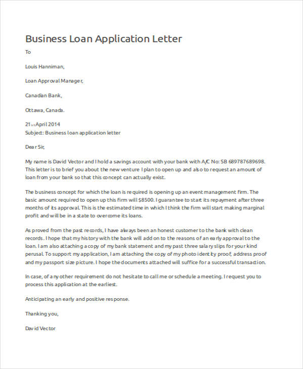 46 application letter examples samples pdf doc business loan application letter sample altavistaventures Choice Image