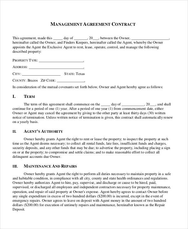 business management contract agreement