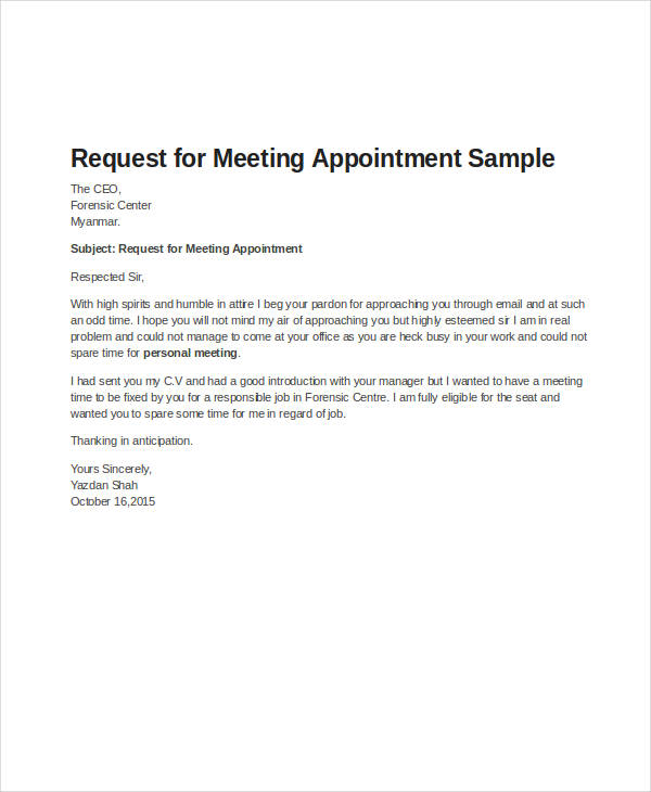 business meeting appointment letter sample