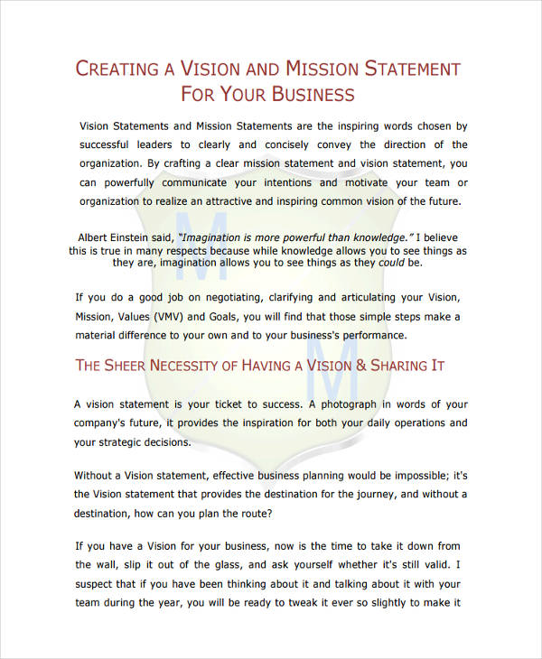 Business Statement Examples Samples