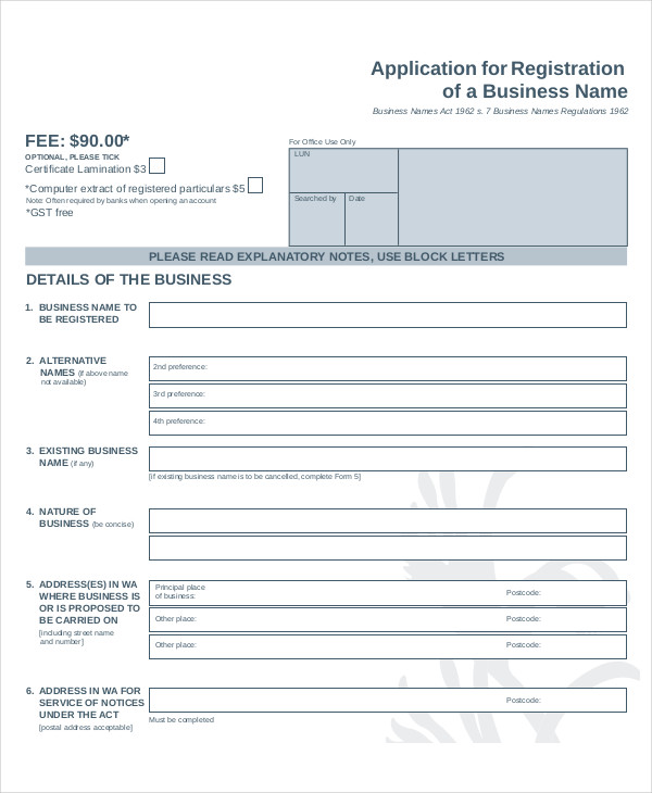 business name registration application