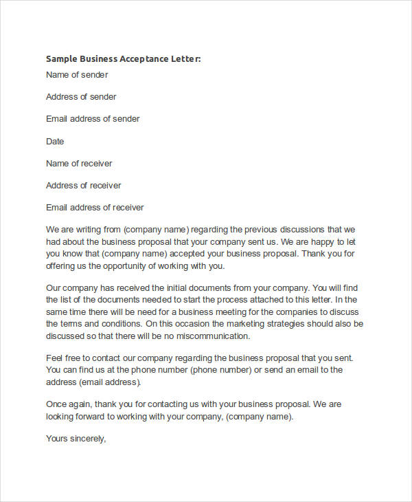 Business Offer Acceptance
