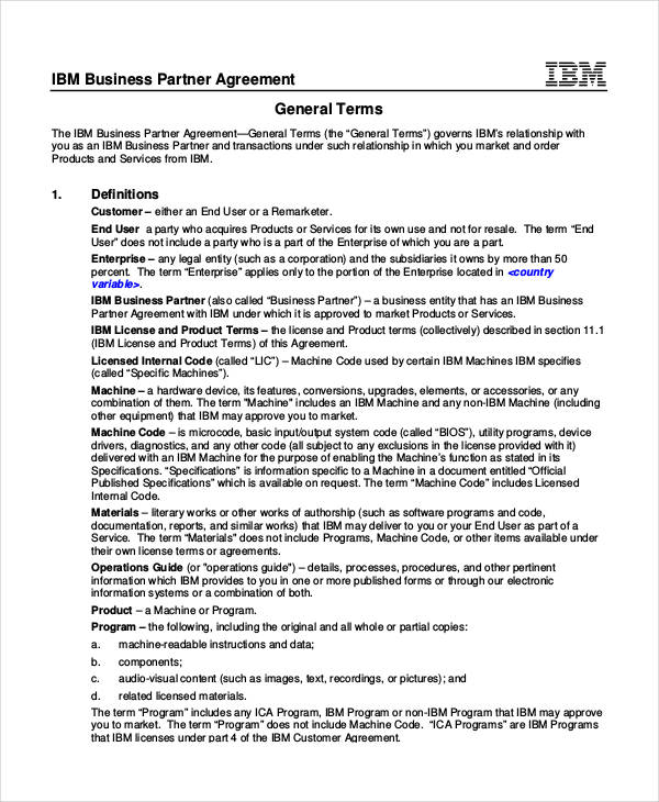 business partner contract agreement