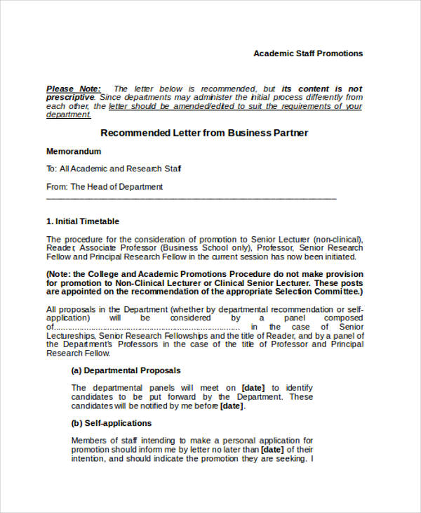 Business Partner Recommendation Letter Example