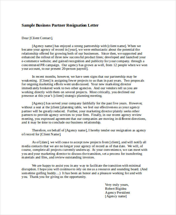 business partner resignation letter