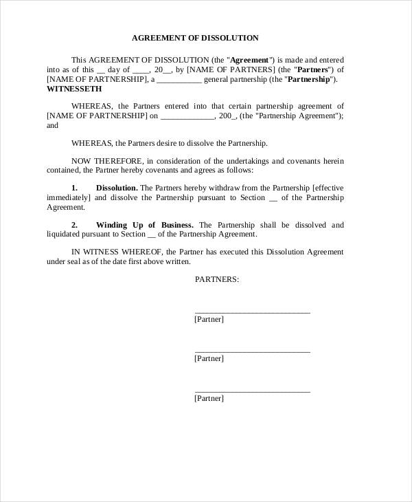 business partnership dissolution agreement