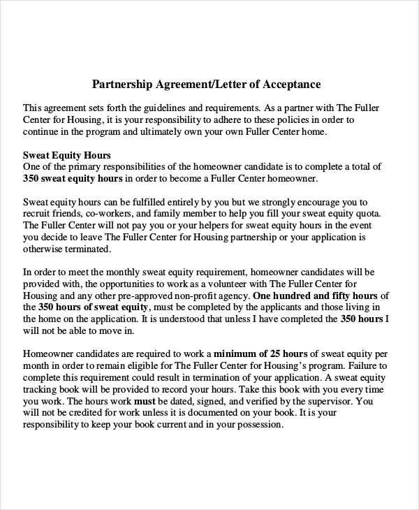business partnership letter sample