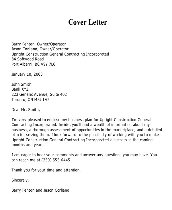Business Plan Proposal Cover Letter