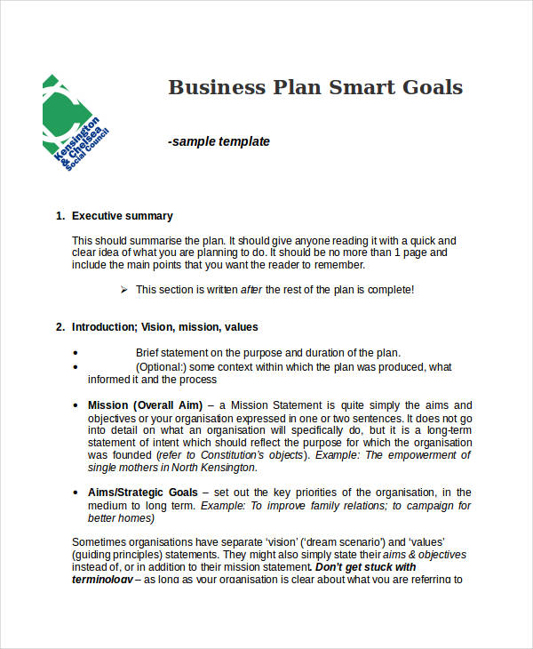 30 smart goals examples samples pdf doc for Company goals and objectives template
