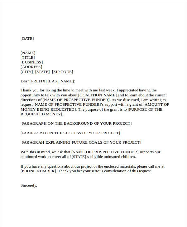 21 business proposal letter examples - Grant Proposal Cover Letter