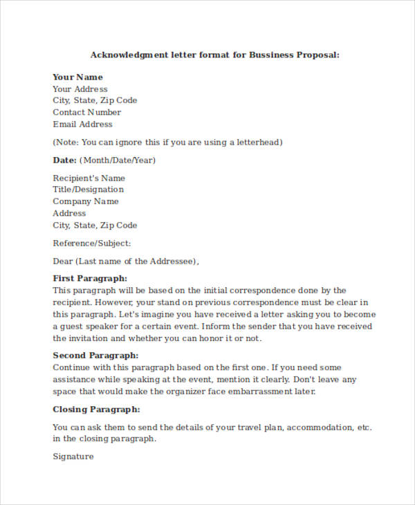 business proposal acknowledgement letter