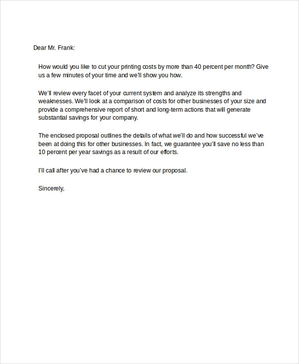 Good Business Proposal Example And Example Of A Letter