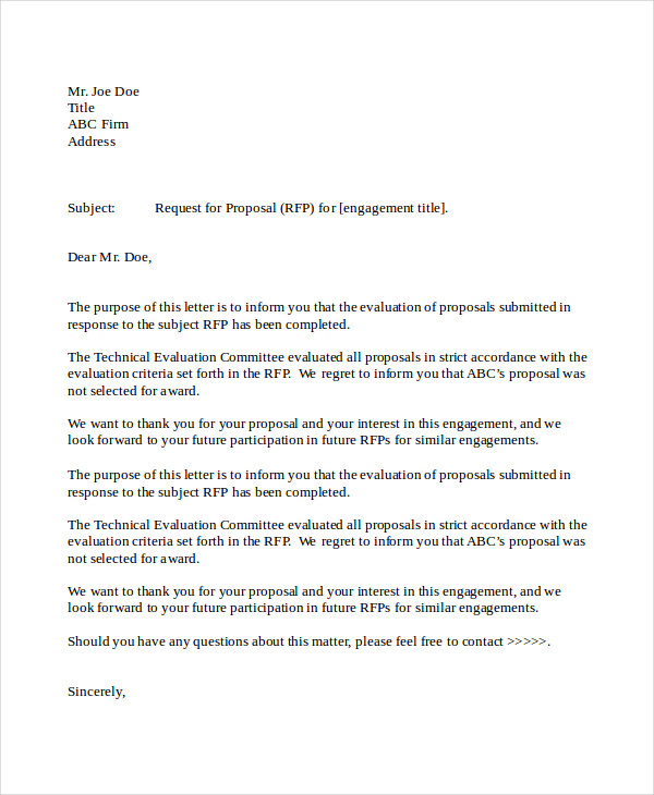 business proposal rejection letter in doc - Business Proposal Letter