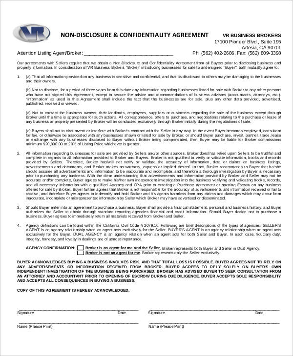Business Purchase Non Disclosure Agreement