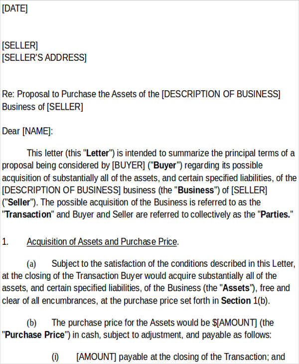 business purchase offer letter