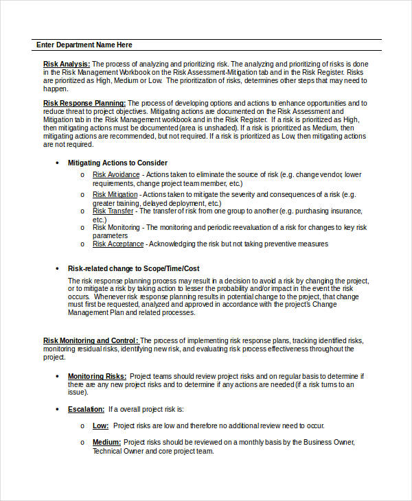 Risk Plan | 31 Risk Plan Examples Samples Pdf Word Pages Examples