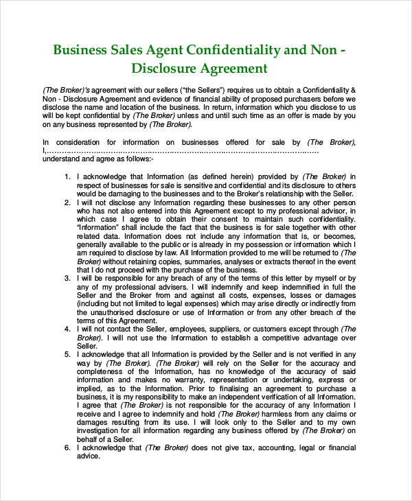 Business Sale Non Disclosure Agreement