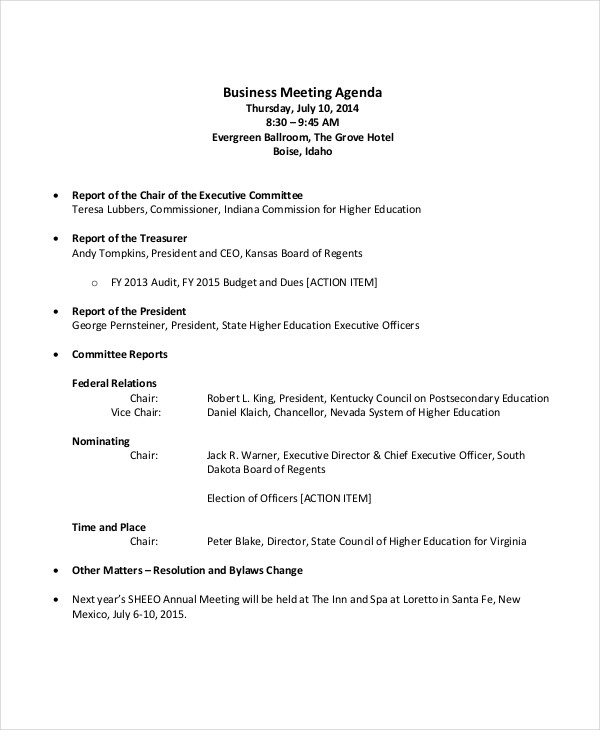 business sales meeting agenda