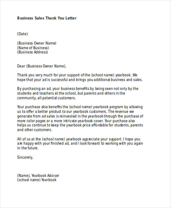 business sales thank you letter